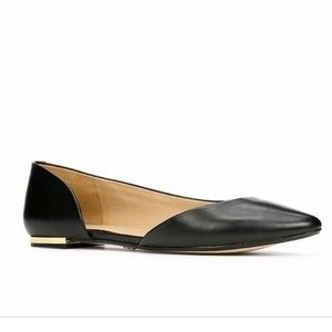 Ann Taylor Liza D'Orsay Black Leather Flats